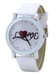 Rhinestone Love Faux Leather Strap Watch