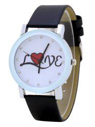 Montre en cuir strass Love Faux Leather Strap