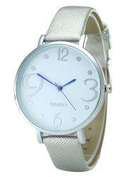 Faux Leather Strap Number Analog Round Watch