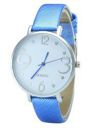 Faux Leather Strap Number Analog Round Watch - BLUE