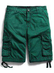 Zip Fly Pockets Straight Cargo Shorts