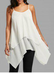 Handkerchief Layered Flowy Cami Tank Top - WHITE
