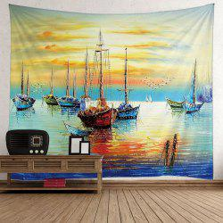 Wall Hanging Oil Painting Boat Sea Tapestry