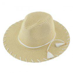 Beach Straw Fedora Hat with Tassel - KHAKI