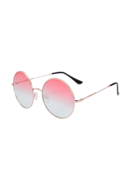 Round Metal Frame Ombre Sunglasses and Box - PINK
