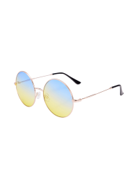 Round Metal Frame Ombre Sunglasses and Box - BLUE