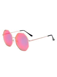 Statement Geometric Anti UV Sunglasses and Box - PINK