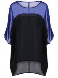Color Block Sheer Plus Size Blouse