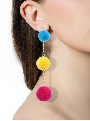 Fuzzy Ball Hook Chain Drop Earrings