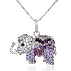 Faux Crystal Inlay Elephant Pendant Necklace