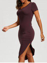 Ruched Asymmetrical Bodycon Dress - CLARET