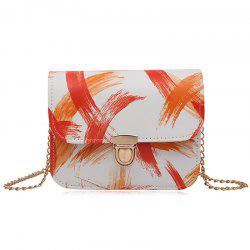 Chain Ink Paint Crossbody Bag - ORANGE