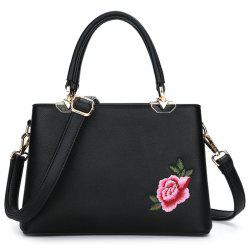 Peony Flower Embroidery Tote Bag - BLACK