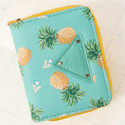 Fruit Print Bi Fold Small Wallet - GREEN