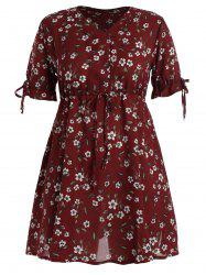 Plus Size Floral Drawstring Mini Chiffon Dress