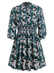 Ruffle Collar Leaf Printed Plus Size Flare Dress
