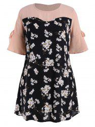 Plus Size Floral Printed Dress with Flare Sleeves