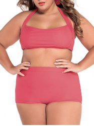 Halter High Waisted Plus Size Bikini Set