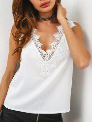 Crochet Trim Plunging Neck Tank Top - WHITE