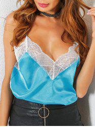 Satin Lace Trim Low Cut Cami Top