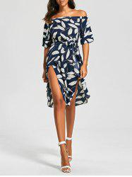 Off The Shoulder Slit Printed Dress