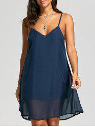 Casual Back Criss Cross Flowy Slip Dress - PURPLISH BLUE