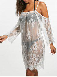 Cold Shoulder Sheer Lace Cover Up Dress