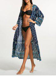 Tribal Print Bohemian Longline Cover Up - Bleu
