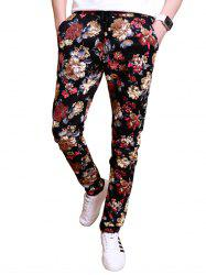 All Over Flowers Printed Drawstring Casual Pants