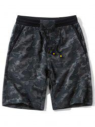 Pockets Camo Pattern Drawstring Shorts