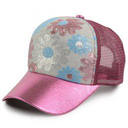 Floral Pattern Sequin Mesh Splicing Baseball Hat - WINE RED