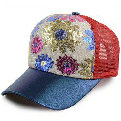 Floral Pattern Sequin Mesh Splicing Baseball Hat