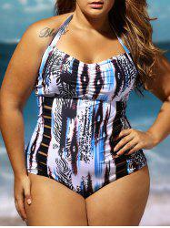 Combinaison de bain Halter Lattice Plus Size