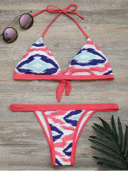 Halter Printed High Cut Bikini Set