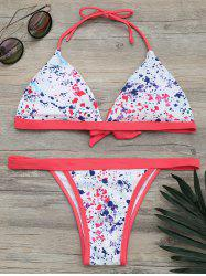 Splash Ink Print Halter Bikini Set