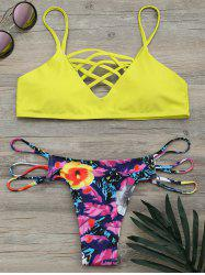 Criss Cross Strappy Floral Bikini Set