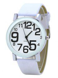 Number Faux Leather Strap Analog Watch - WHITE