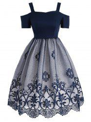 Lace Panel Vintage Fit et Flare Dress - Bleu