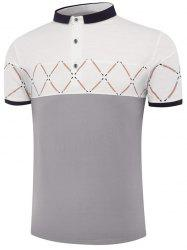 Color Block Geometric Pattern Polo Shirt