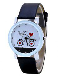 Rhinestone Heart Bike Faux Leather Strap Watch