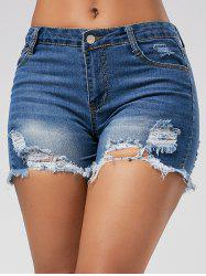 Skinny Mini Denim Ripped Shorts - BLUE