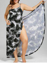 Palm Tree Print Plus Size Cover Up Dress