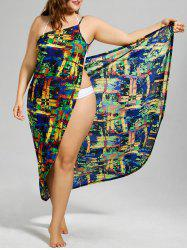 Colorful Plus Size Wrap Dress - COLORMIX