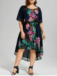 Floral Overlay High Low Hem Plus Size Dress - PURPLISH BLUE