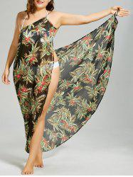 Plus Size Tropical Leaf Chiffon Cover-up Maxi Dress