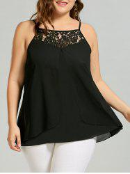 Plus Size Lace Insert Camisole Top - BLACK
