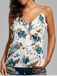 Floral Ruffle Trim Tie Side Sleeveless Blouse - OFF-WHITE