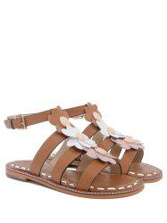 T Bar Flowers Flat Heel Sandals