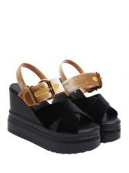 Velvet Platform Buckle Strap Sandals - BLACK AND GOLDEN
