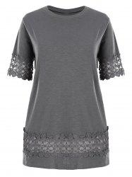Plus Size Lace Crochet Panel Basic T-shirt